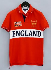 Men-Tommy-Hilfiger-ENGLAND-UK-Polo-Shirt-Red-Cotton-Short-Sleeves-S-VCA103