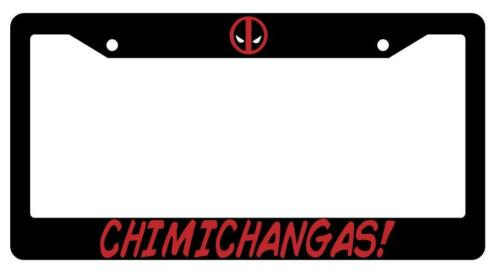 License Plate Frame Auto Accessory Deadpool Black Chimichangas