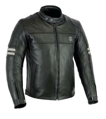 Rksports Speed 5 Mens Retro Leather Motorcycle Motorbike Jacket With Armour Gute QualitäT