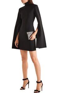 Solace-London-High-Slit-Bell-Sleeves-Franklin-Crepe-Bonded-Ponte-Mini-Dress-UK6
