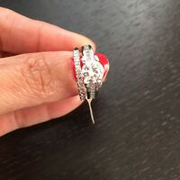 925 Sterling Silver Plated Wedding Band Set Ring