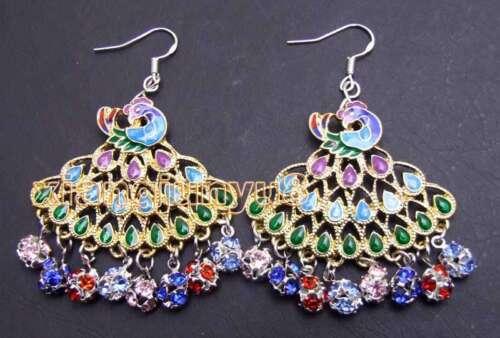 40mm Multicolor Peafowl Pendant Earring for Women Natural Crystal Dangle Earring
