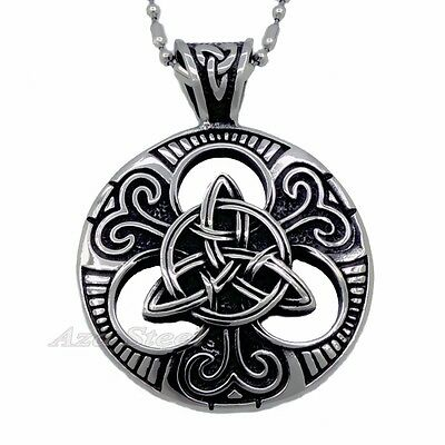 Men's Circle Celtic Knot Double Sided 316L Stainless Steel Pendant Necklace #35T