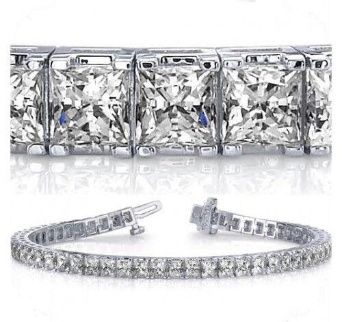 "0.10 ct each 6.60 ct Princess Cut Diamond 14k  Gold Over 7/"" Tennis Bracelet"