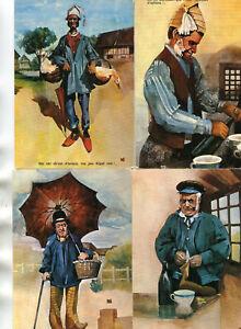LOT-de-4-cartes-sur-la-Normandie-Pittoresque-Folklore-Patois-Costume-Personnage