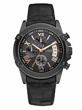 New Authentic GUESS Men Dress Collection Black Leather  Watch U15064G2 NWT
