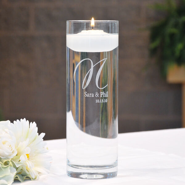 Wedding Unity Floating Candle Personalized Memorial Cylinder Vase Ebay
