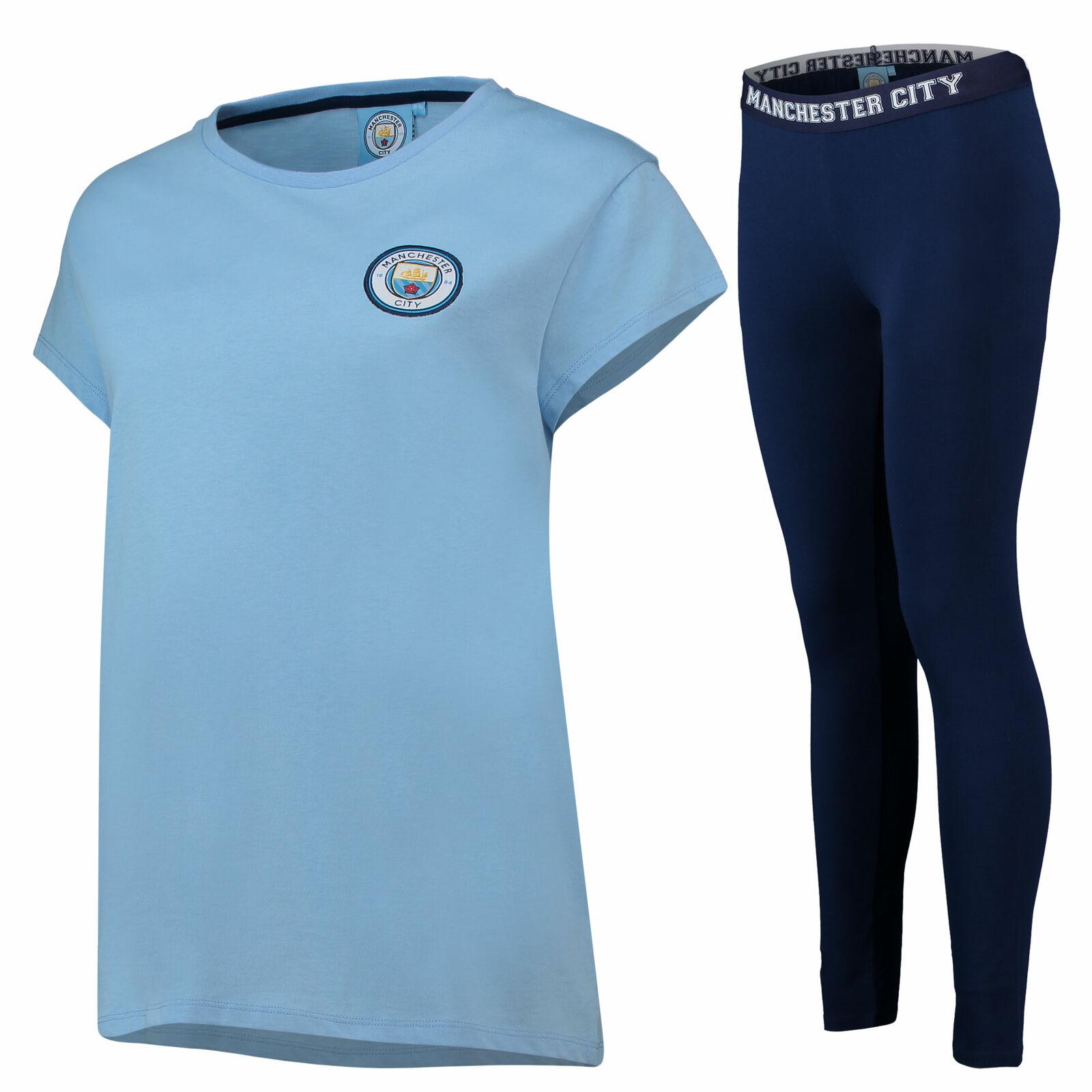 3775dd5b7bf Manchester City Oversized T And Legging Lounge Set PJ Nightwear Sky Navy  Womens