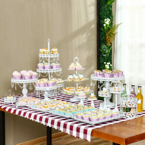 12pcs/Set Crystal White Metal Cake Holder Cupcake Stand Birthday ...