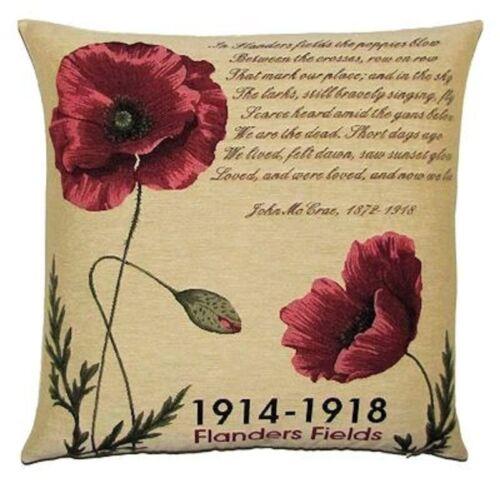 """Lot de 2 X 18/"""" Belge Tapisserie Coussin Couverture Flanders Fields 1914-18 5325 5326"""