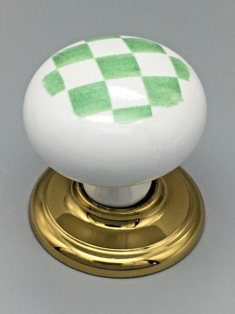 4 x GINGHAM CHECK KNOBS 50mm green white ceramic porcelain cupboard  knob 333