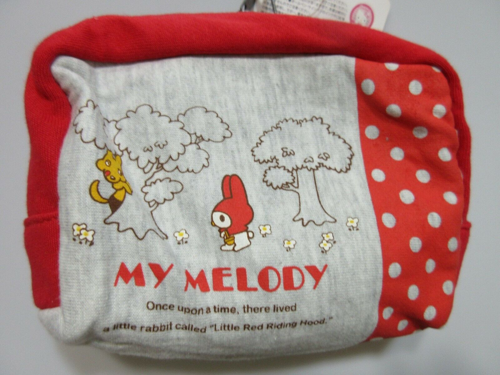 My Melody Little Red Riding Hood Rabbit Makeup Bag Zip Up Red Gray Polka Dot NWT