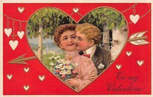 D39-Valentine-039-s-Day-Love-Holiday-Postcard-1910-8096-8099-Man-Woman-Kiss-2