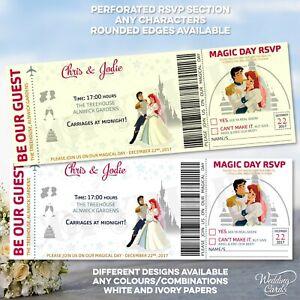 Details About Little Mermaid Ariel Wedding Invitation Disney Save The Date Invite Ticket Card