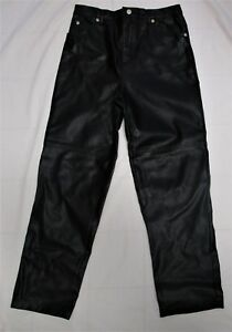 Girl-039-s-Black-Faux-Leather-Jeans-Pants-Size-14