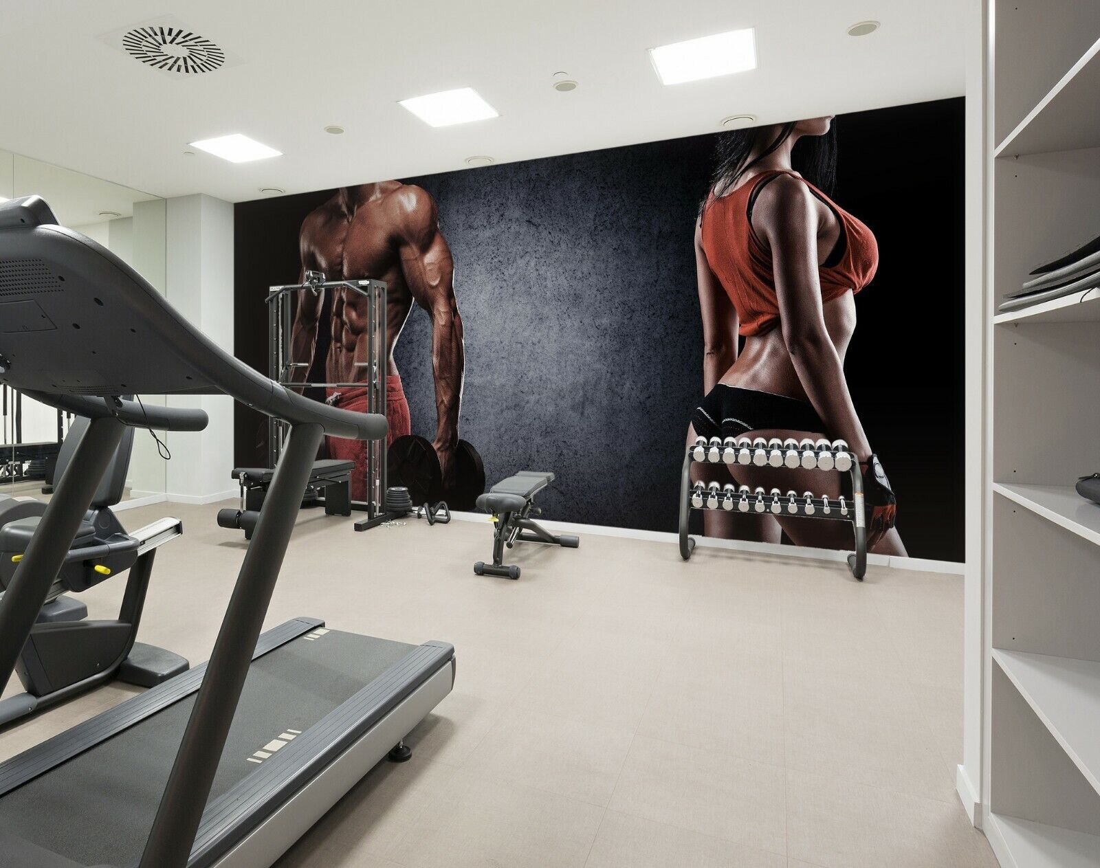 3D Muscle Gym Mädchen H69 Geschäft Tapete Wandgemälde Selbstklebend Handel An