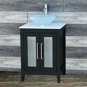 24 Bathroom Black Vanity 24 Inch Cabinet Whitetop Sink Faucet A24
