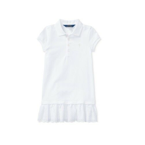 e798c5e85 Polo Ralph Lauren Toddler Girls Pleated Short Sleeve Polo Dress, White Size  3T
