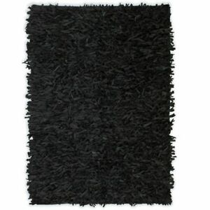 vidaXL-Shaggy-Rug-Genuine-Leather-80x160cm-Black-Home-Soft-Floor-Carpet-Mat