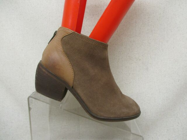 Charles By Charles David Brown Suede Leather Side Zip Ankle Fashion Boots Size 6