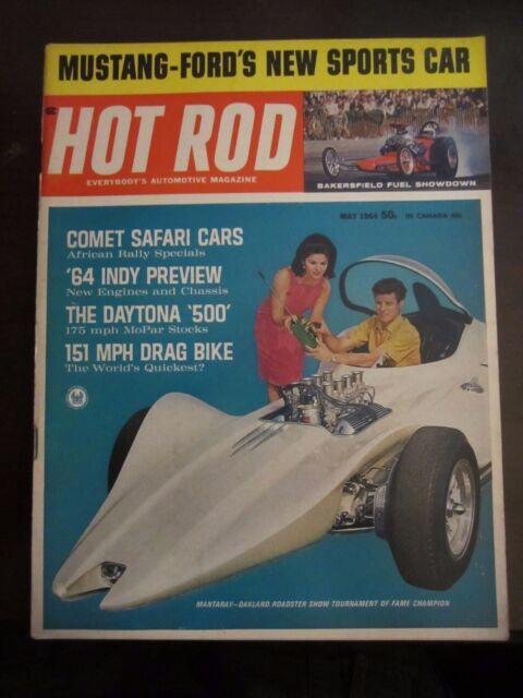 Hot Rod Magazine May 1964 Mustang Fords Sports Car Mantaray Roadster JJ AX G Z7