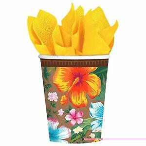 Beachy Blooms Hibiscus Luau Floral Flower Garden Theme Party 9 Oz