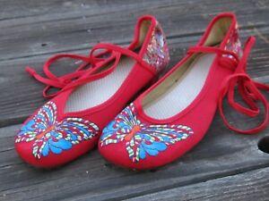 6c5c7d1ddc763 Details about RED FESTIVAL SHOES FLATS Sz 7.5 ASIAN Style Women's Butterfly  Tie Slipper Shoes