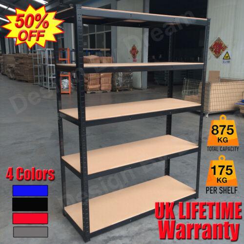 Modern Garage Shelving Units Shed Racking Storage Boltless Metal Shelves 5 Tier