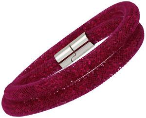 Swarovski-Stardust-Fuchsia-Nylon-Tube-Double-Bracelet-Ras-pour-Femmes-5089833