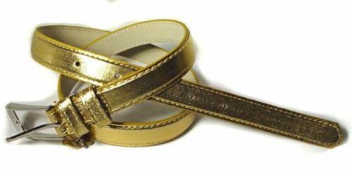 """.75/"""" WIDE GLOSSY GOLD SKINNY LEATHER FASHION BELT FOR WOMEN #WN250"""