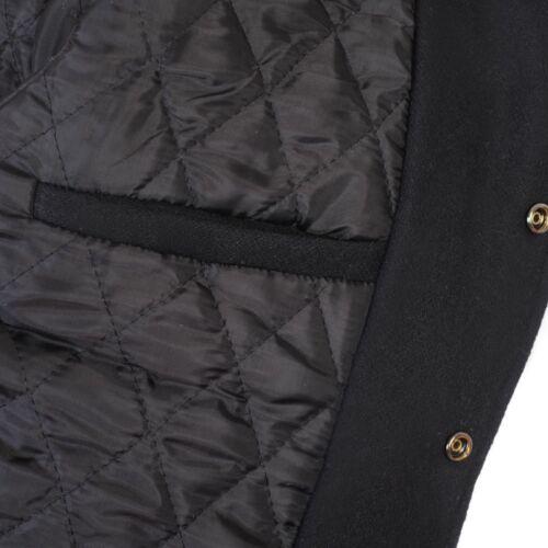 pura vera di maniche nera Letterman lana Varsity Bomber nera pelle vergine con in XwpZy8q