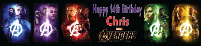 2 Personalised MARVEL AVENGERS INFINITY WAR banners all occasions Birthday 1a