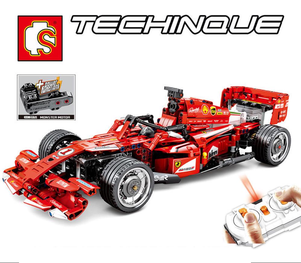 Baukästen rote Rennwagen Fernbedienung F1 Figur Spielzeug Geschenk Model