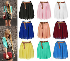 Women Mini Skirt Girl Chiffon Short Dress Pleated Retro Elastic Waist 25 Colors