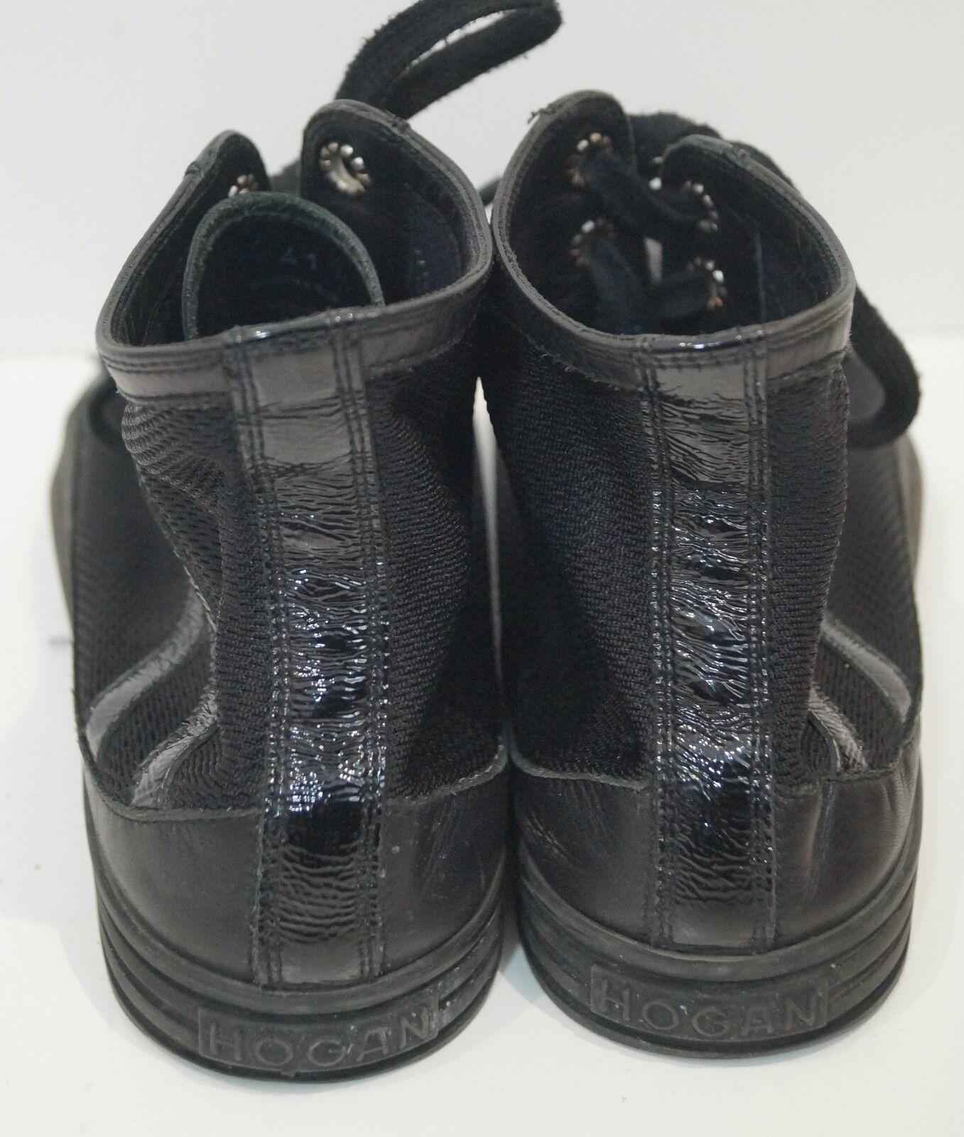 HOGAN Women's Black Leather Patent Patent Patent & Fabric Branded High Tops Sneakers UK8 EU41 4c99b1