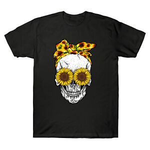 Skull-Sunflower-Floral-Flowers-Eyes-Funny-Men-039-s-T-Shirt-Cotton-Short-Sleeve-Tee