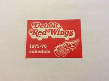 Detroit Red Wings Hockey 1975-76 Pocket Schedule Original Vintage