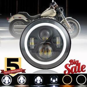 DOT-7-034-inch-LED-Headlight-Halo-Black-For-Yamaha-V-Star-1100-Silverado-XVS1100AT