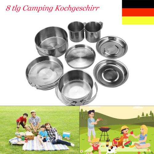 8 tlg Camping Kochgeschirr Edelstahl Outdoor Koch Set Campinggeschirr Pfanne