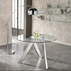 Dettagli su Tavolo tondo Rondo\' con gambe in metallo o acciaio e piano in  vetro temperato