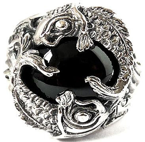 JAPAN KOI CARP FISH 925 STERLING SILVER RING Sz 9 BIG LUCKY JAPANESE JEWELRY NEW