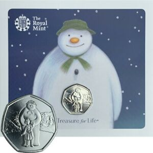 IN-STOCK-NEW-Christmas-2019-Snowman-and-James-50p-Coin-Royal-Mint-BU-Folder