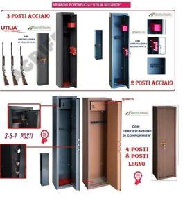 ARMADIO-PORTAFUCILI-FUCILIERA-ACCIAIO-BLINDATO-POSTI-2-3-4-5-7-8-LEGNO