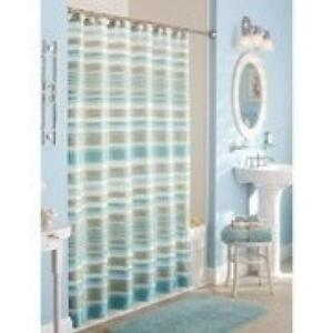Image Is Loading Classic Stripe Fabric Shower Curtain Polyester Machine Washable