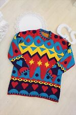 Urban Outfitters Ugly Bright Vtg Star Heart Rainbow Jumper Sweater 12 14 L
