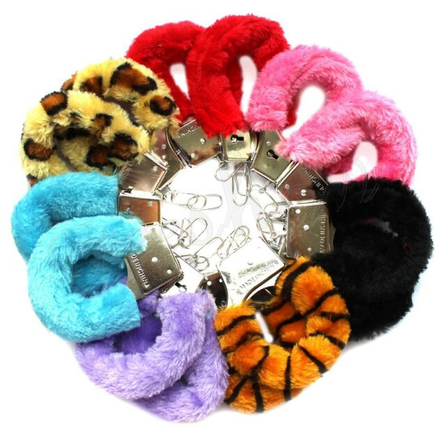 Furry Fluffy Metal Red Handcuffs Valentines Novelty Gift Adult Fun Kinky Cuffs