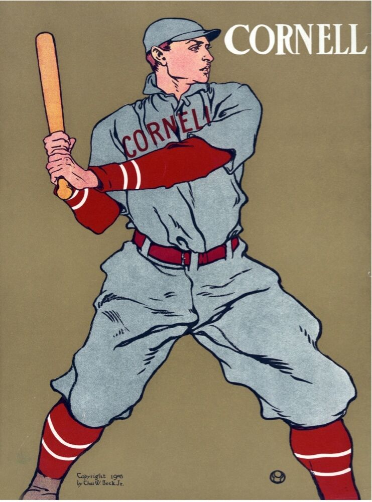 5597.Cornell baseball.player at bat.ready for game.POSTER. Home Office decor