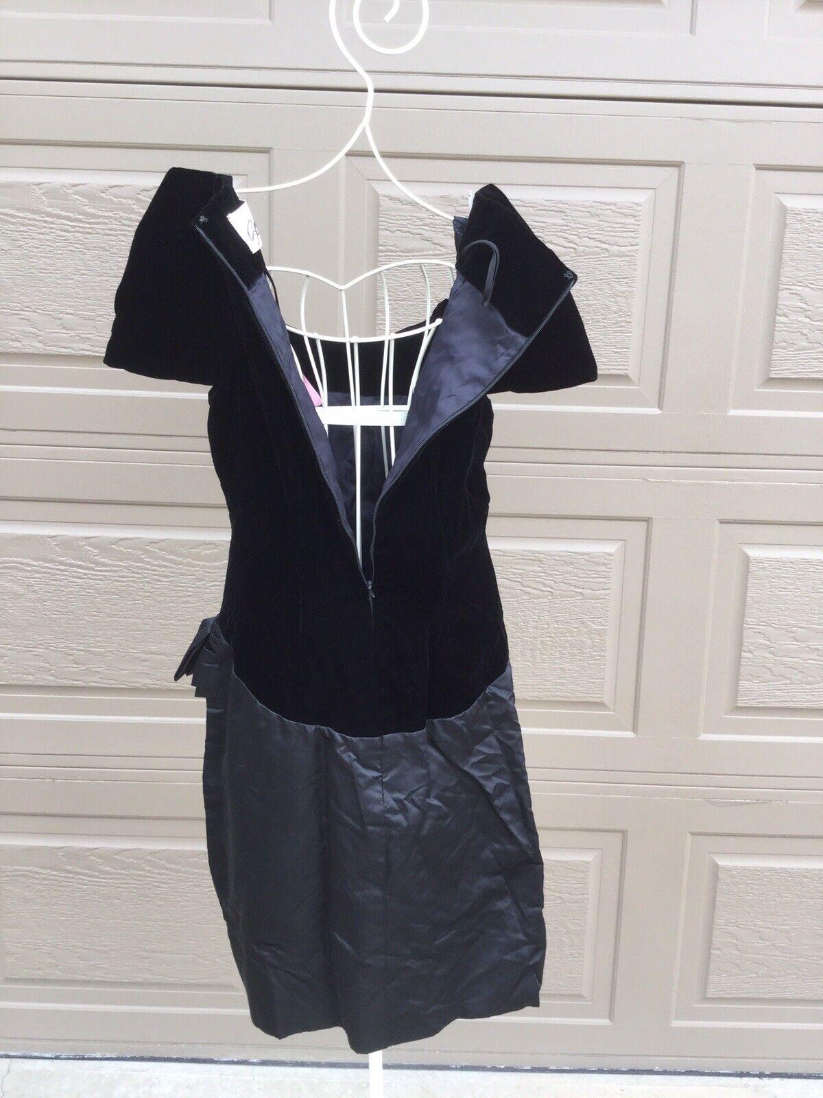 Scaasi Boutique Couture Black Velvet Satin Dress,… - image 7