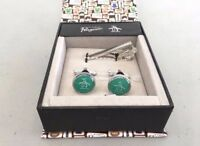 Original Penguin By Munsingwear Green Cuff Links & Tie Pin Sets In Gift Box 1750
