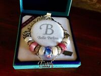 Bella Perlina Charm Bead Bracelet - Pink Purple Faith Angel -